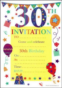 30th birthday party invitations 20 pack for 30th birthday party decoration packs