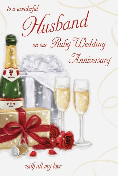 Husband Ruby 40th Wedding Anniversary Greeting Card