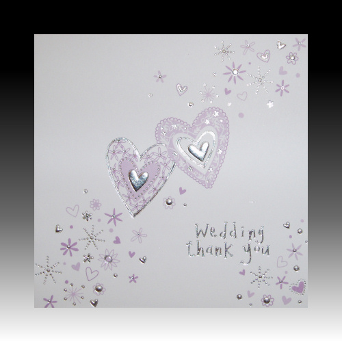Wedding Gift Thank You Cards: White Wedding Gift Thank You Cards With Lilac Hearts
