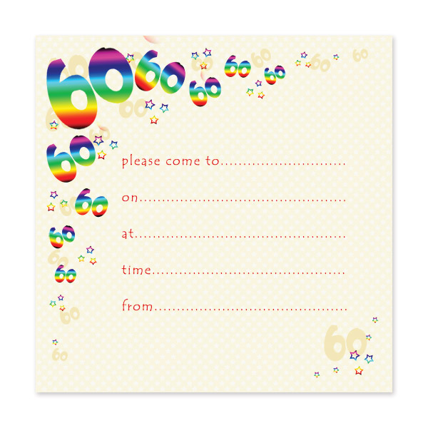 Pack of 10 60th Birthday Party Invitations – Wording for 60th Birthday Invitations