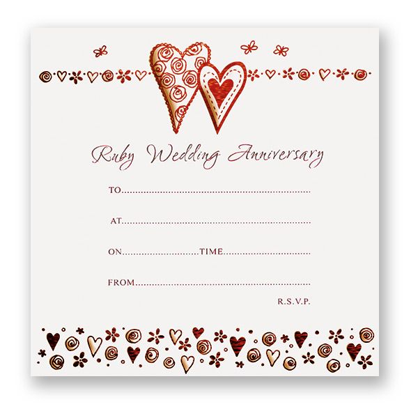 Ruby Wedding Anniversary Invitations  Pack Of