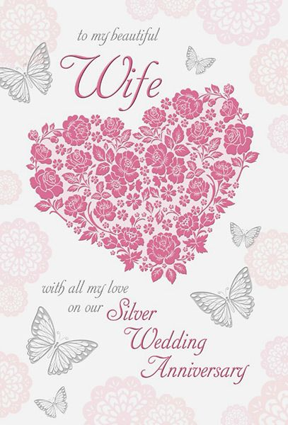 wife 25th silver wedding anniversary card - Wedding Anniversary Cards