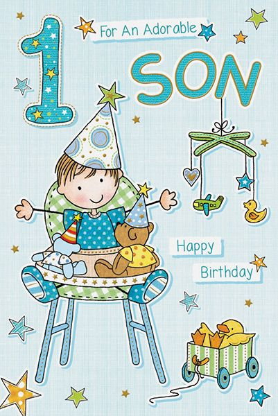 Adorable Son 1st Birthday Card