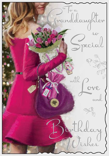 Granddaughter 18th 18 Purple Dress Shoes /& Flowers Design Happy Birthday Card