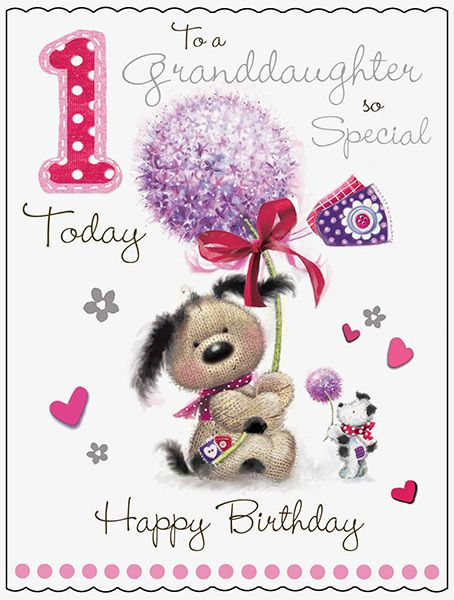 Large Granddaughter 1st Birthday Fudge Friends Card 43828 P