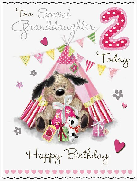 Large Granddaughter 2nd Birthday Fudge Friends Card 43832 P