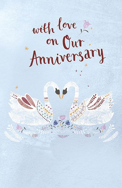Our wedding anniversary swans greeting card m4hsunfo