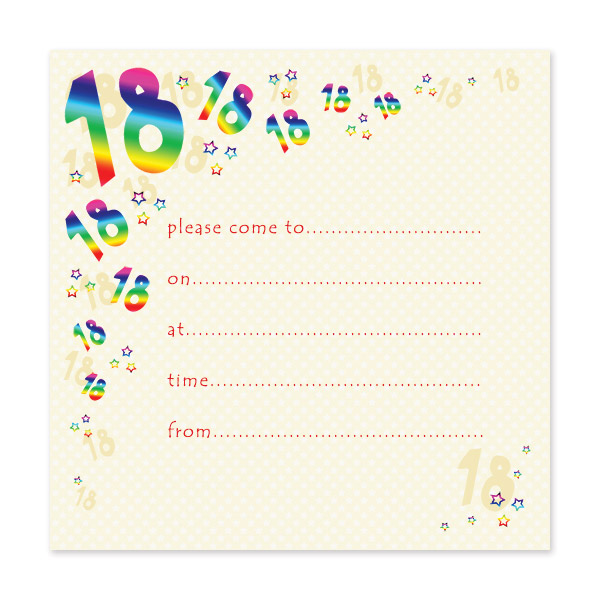 pack of 10 18th birthday party invitations