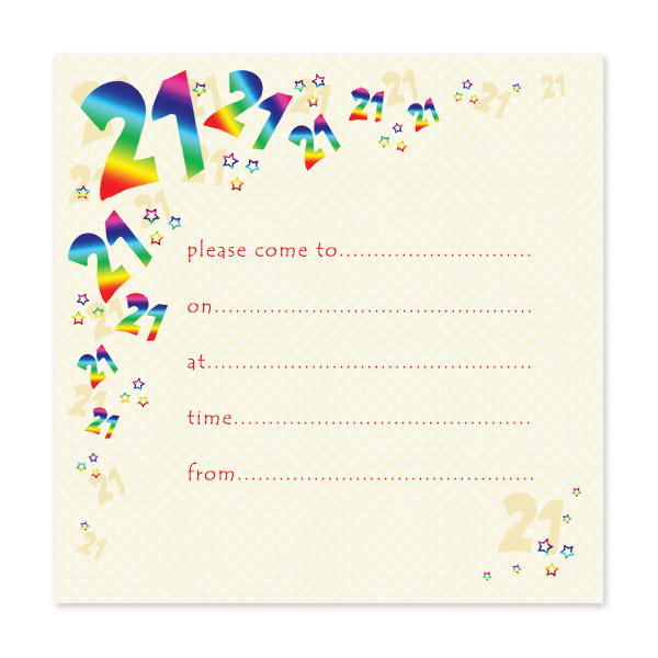 pack of 10 21st birthday party invitations
