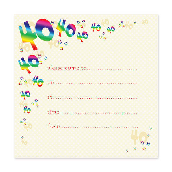 pack of 10 40th birthday party invitations