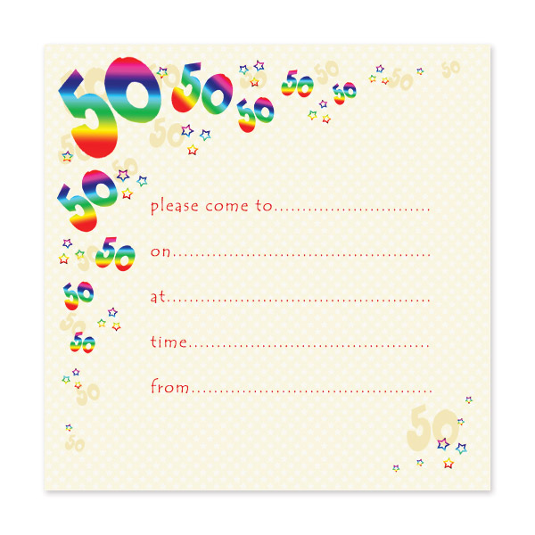 Pack Of 10 50th Birthday Party Invitations