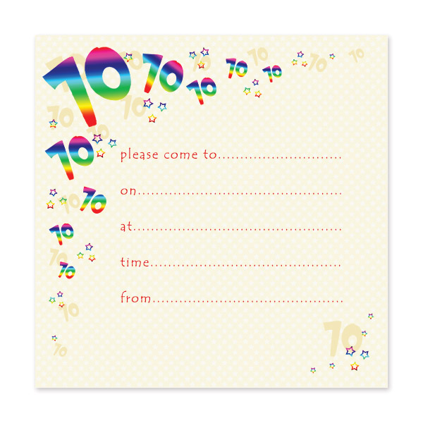 Pack Of 10 70th Birthday Party Invitations
