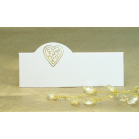 Pack of 12 Place Cards - Cream with Gold Heart