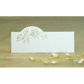 Pack of 12 Place Cards - Cream with Gold Rose