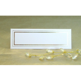 Pack of 12 Place Cards - White with Gold Border