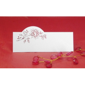 Pack of 12 Place Cards - White with Red Rose