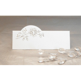 Pack of 12 Place Cards - White with Silver Rose