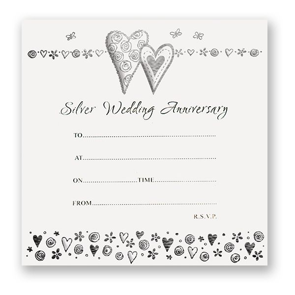 Silver wedding anniversary invitations pack of 10 stopboris Image collections