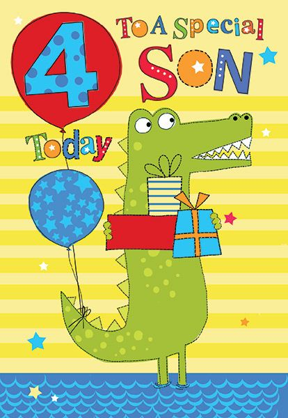 Fabulous Son 4Th Birthday Card Personalised Birthday Cards Paralily Jamesorg
