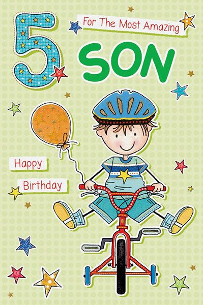 Son Age 5 Birthday Card 39257 P