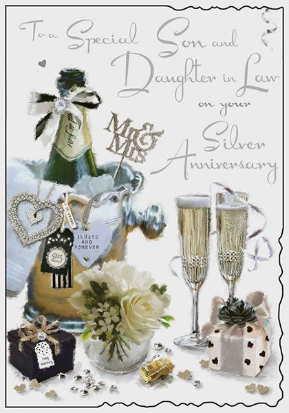 Son Amp Daughter In Law Silver Wedding Anniversary Card